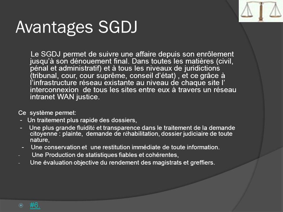 Avantages SGDJ Le SGDJ permet de suivre une affaire depuis son enrôlement jusquà son dénouement final. Dans toutes les matières (civil, pénal et admin
