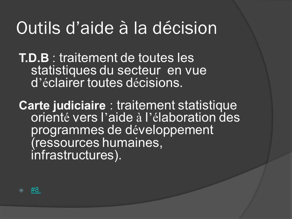 Outils daide à la décision T.D.B : traitement de toutes les statistiques du secteur en vue d é clairer toutes d é cisions. Carte judiciaire : traiteme