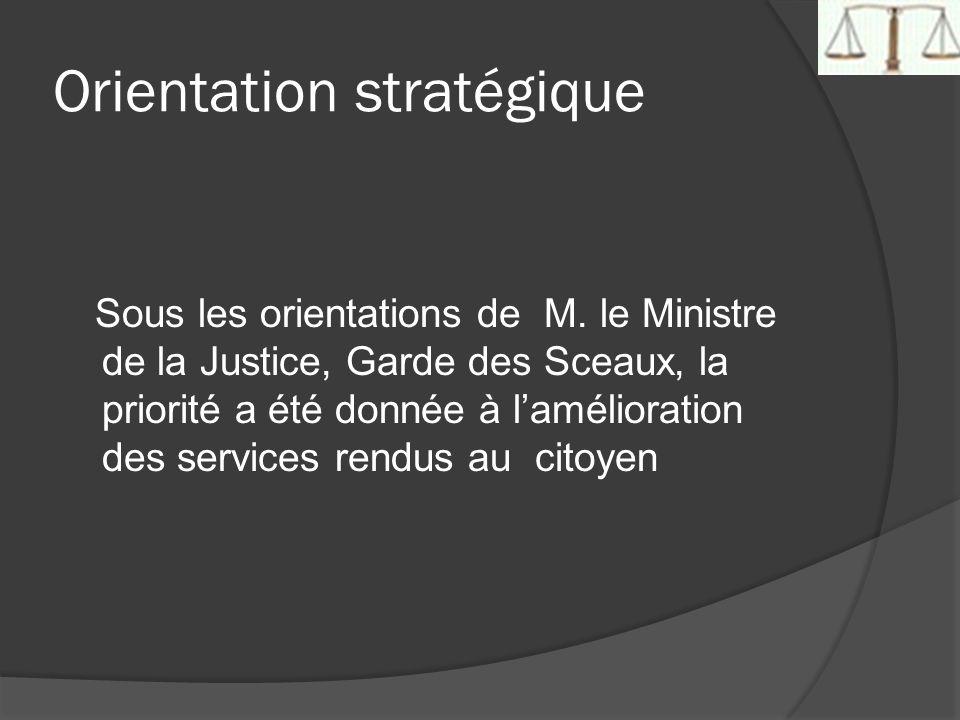 Orientation stratégique Sous les orientations de M. le Ministre de la Justice, Garde des Sceaux, la priorité a été donnée à lamélioration des services