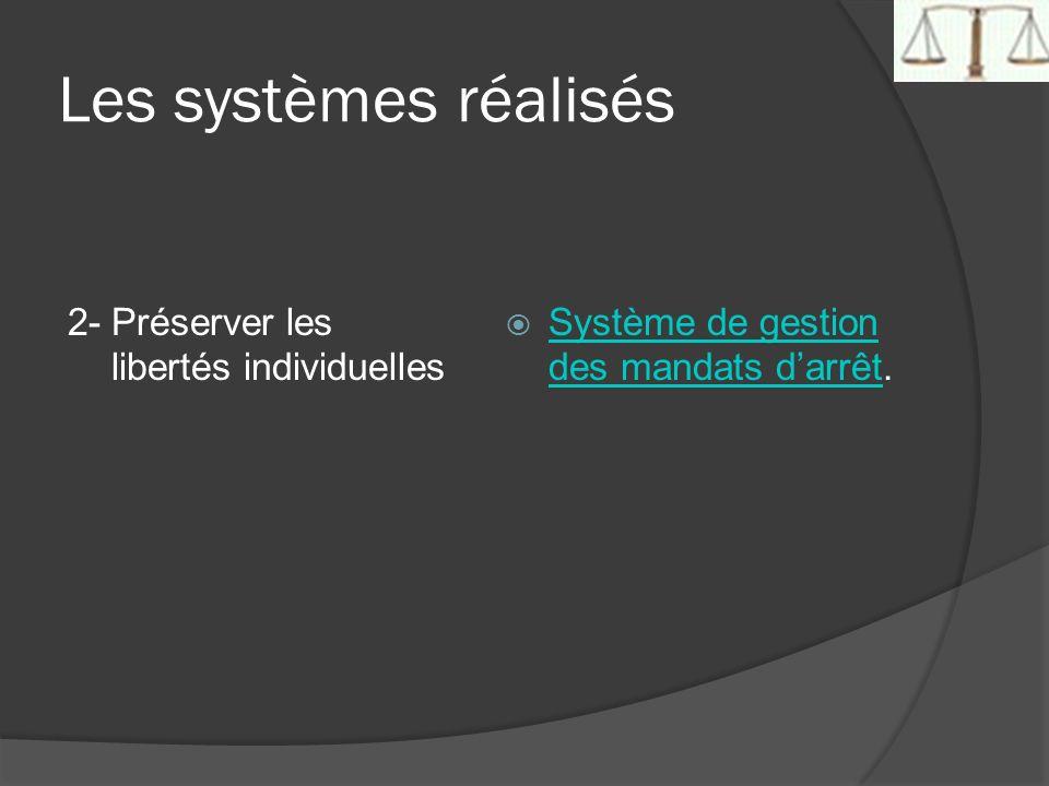 Les systèmes réalisés 2- Préserver les libertés individuelles Système de gestion des mandats darrêt. Système de gestion des mandats darrêt