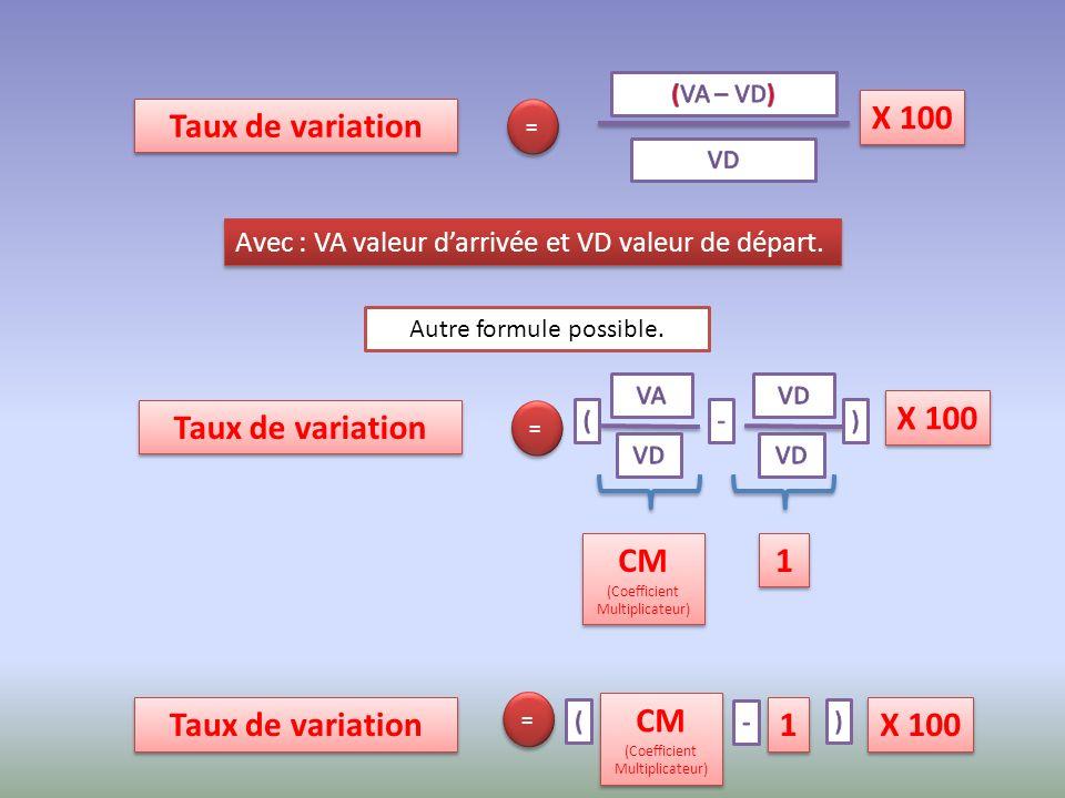 Avec : VA valeur darrivée et VD valeur de départ.Autre formule possible.