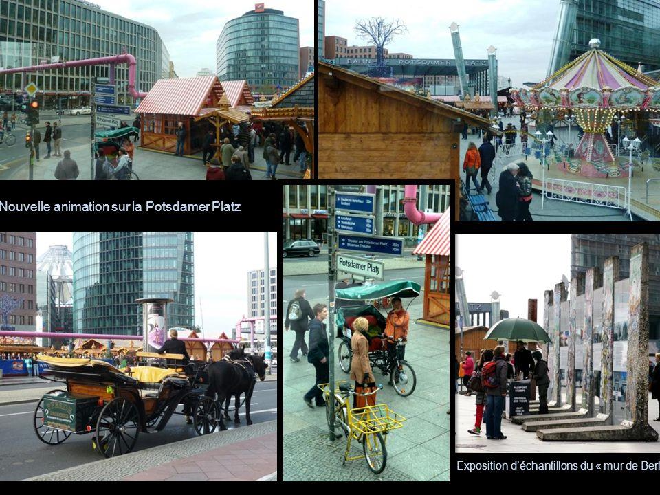 Nouvelle animation sur la Potsdamer Platz Exposition déchantillons du « mur de Berlin »