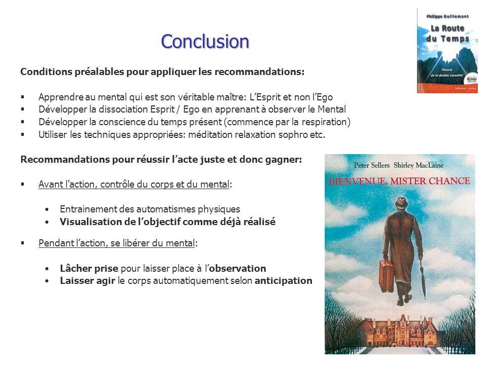 Conclusion Conditions préalables pour appliquer les recommandations: Apprendre au mental qui est son véritable maître: LEsprit et non lEgo Développer