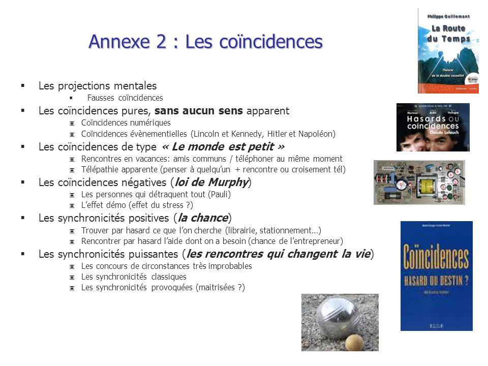 Annexe 2 : Les coïncidences Les projections mentales Fausses coïncidences Les coïncidences pures, sans aucun sens apparent Coïncidences numériques Coï
