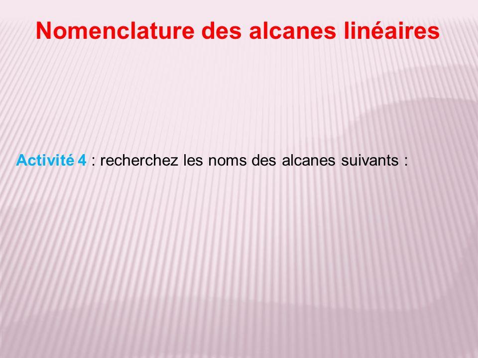 Nomenclature des alcanes linéaires Activité 4 : recherchez les noms des alcanes suivants :