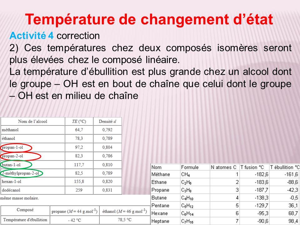 Température de changement détat Activité 4 correction 2) Ces températures chez deux composés isomères seront plus élevées chez le composé linéaire. La