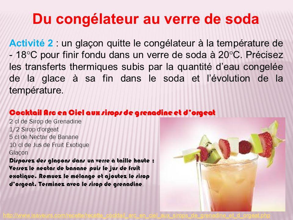 Du congélateur au verre de soda Activité 2 : un glaçon quitte le congélateur à la température de - 18°C pour finir fondu dans un verre de soda à 20°C.