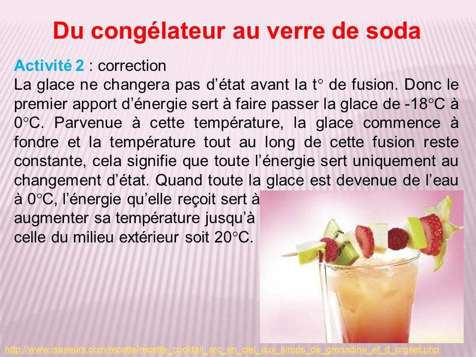 Du congélateur au verre de soda Activité 2 : correction La glace ne changera pas détat avant la t° de fusion. Donc le premier apport dénergie sert à f