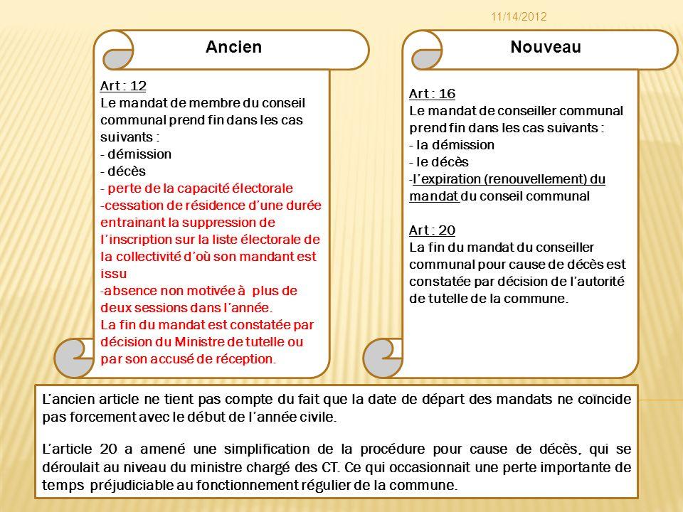 Art : 16 Le mandat de conseiller communal prend fin dans les cas suivants : - la démission - le décès -lexpiration (renouvellement) du mandat du conse