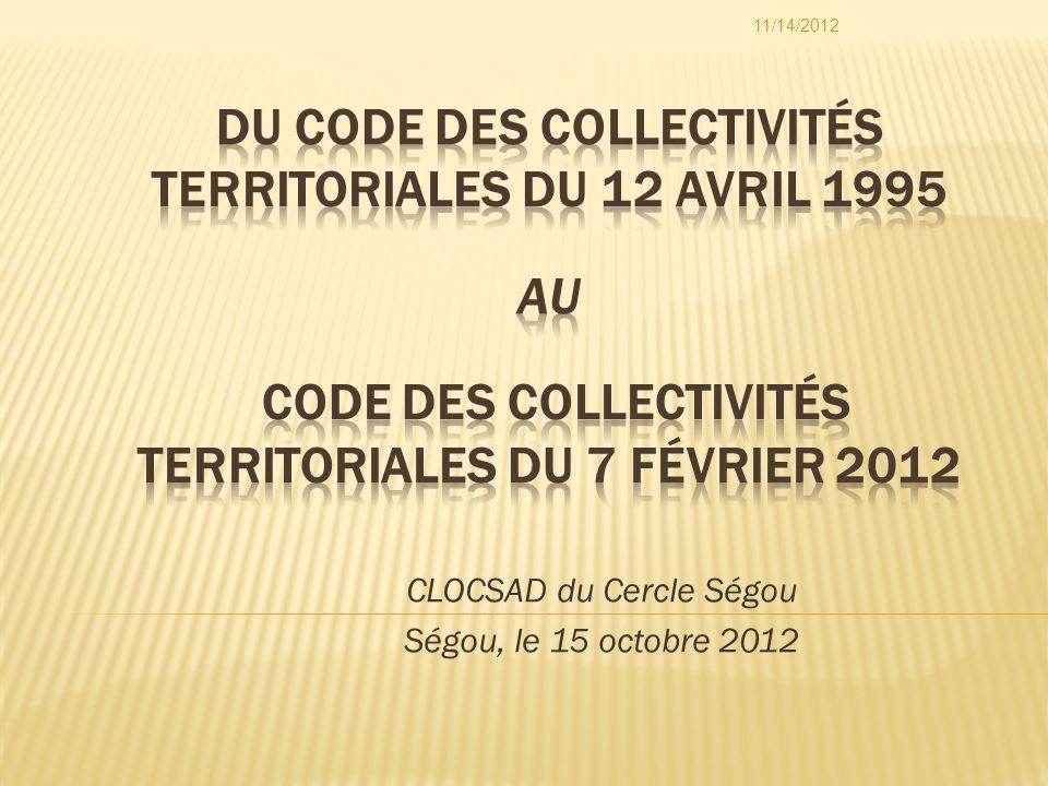 CLOCSAD du Cercle Ségou Ségou, le 15 octobre 2012 11/14/2012