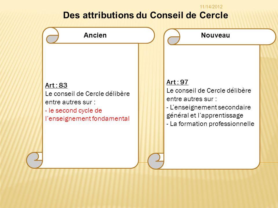 Art : 97 Le conseil de Cercle délibère entre autres sur : - Lenseignement secondaire général et lapprentissage - La formation professionnelle Art : 83