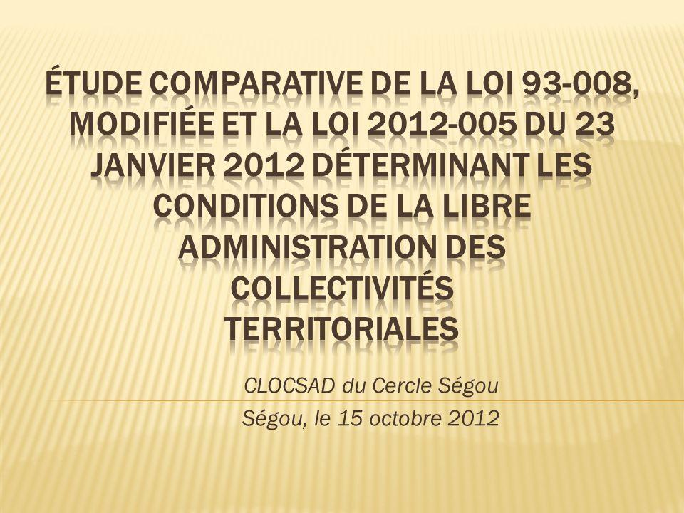 CLOCSAD du Cercle Ségou Ségou, le 15 octobre 2012