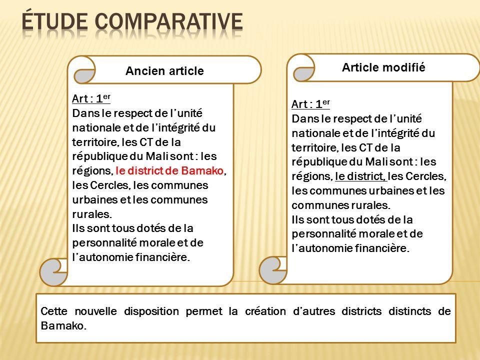 Art : 1 er Dans le respect de lunité nationale et de lintégrité du territoire, les CT de la république du Mali sont : les régions, le district, les Ce