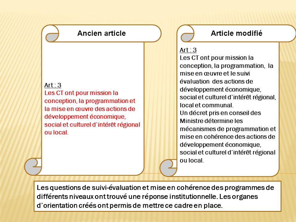 Art : 3 Les CT ont pour mission la conception, la programmation, la mise en œuvre et le suivi évaluation des actions de développement économique, soci