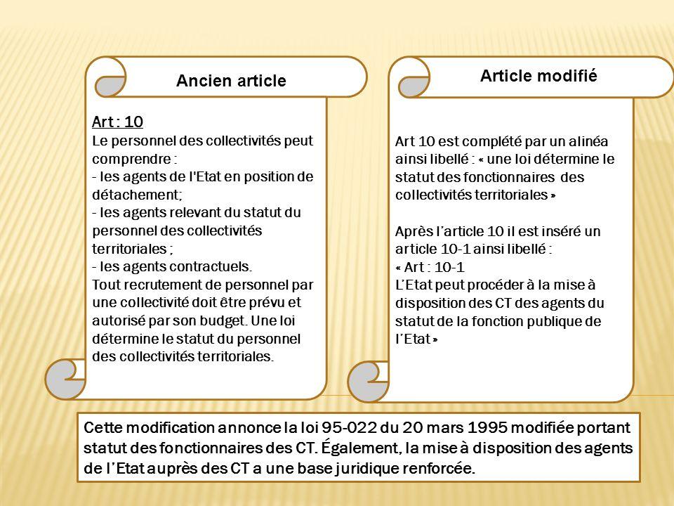 Art 10 est complété par un alinéa ainsi libellé : « une loi détermine le statut des fonctionnaires des collectivités territoriales » Après larticle 10