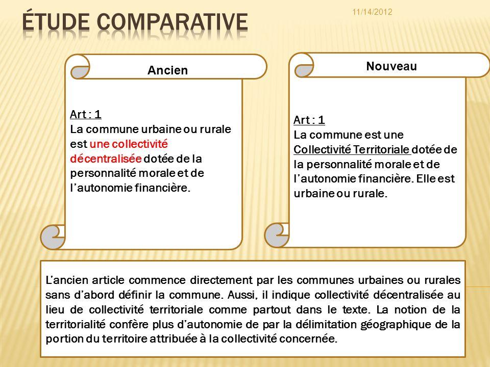 Art : 1 La commune est une Collectivité Territoriale dotée de la personnalité morale et de lautonomie financière. Elle est urbaine ou rurale. Art : 1