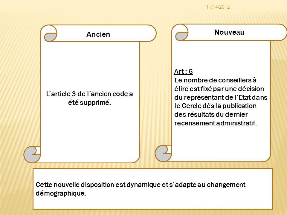 Art : 6 Le nombre de conseillers à élire est fixé par une décision du représentant de lEtat dans le Cercle dès la publication des résultats du dernier