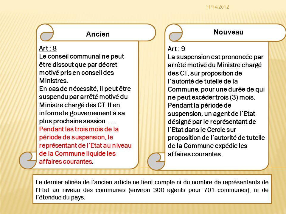 Art : 9 La suspension est prononcée par arrêté motivé du Ministre chargé des CT, sur proposition de lautorité de tutelle de la Commune, pour une durée