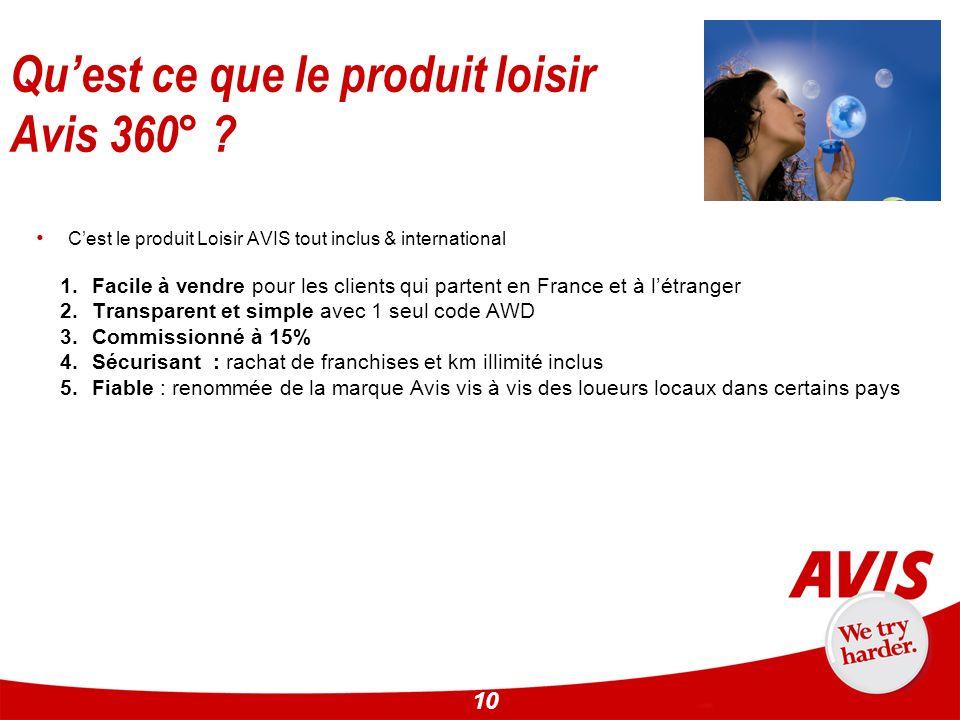 10 Cest le produit Loisir AVIS tout inclus & international 1.Facile à vendre pour les clients qui partent en France et à létranger 2.Transparent et si