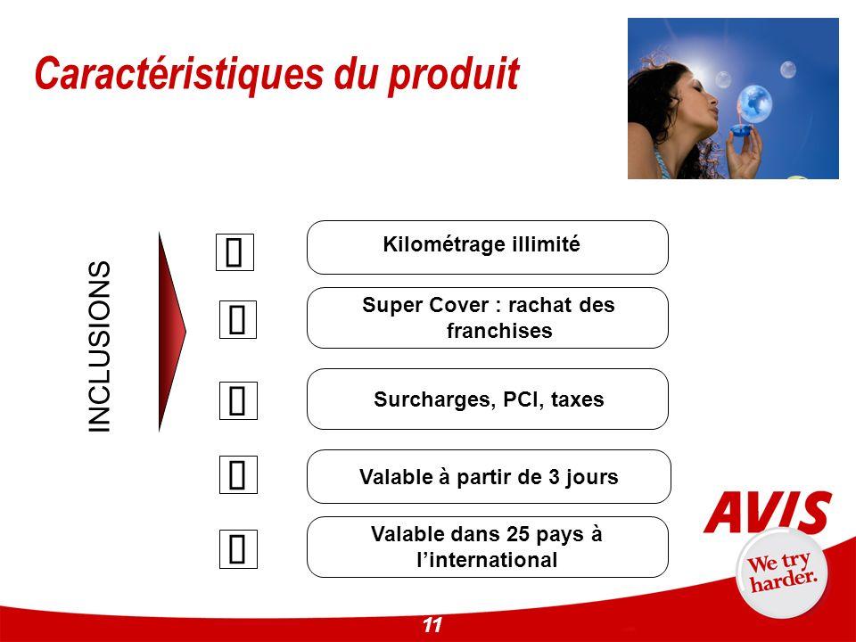 11 Caractéristiques du produit Kilométrage illimité Super Cover : rachat des franchises Surcharges, PCI, taxes INCLUSIONS Valable dans 25 pays à linte