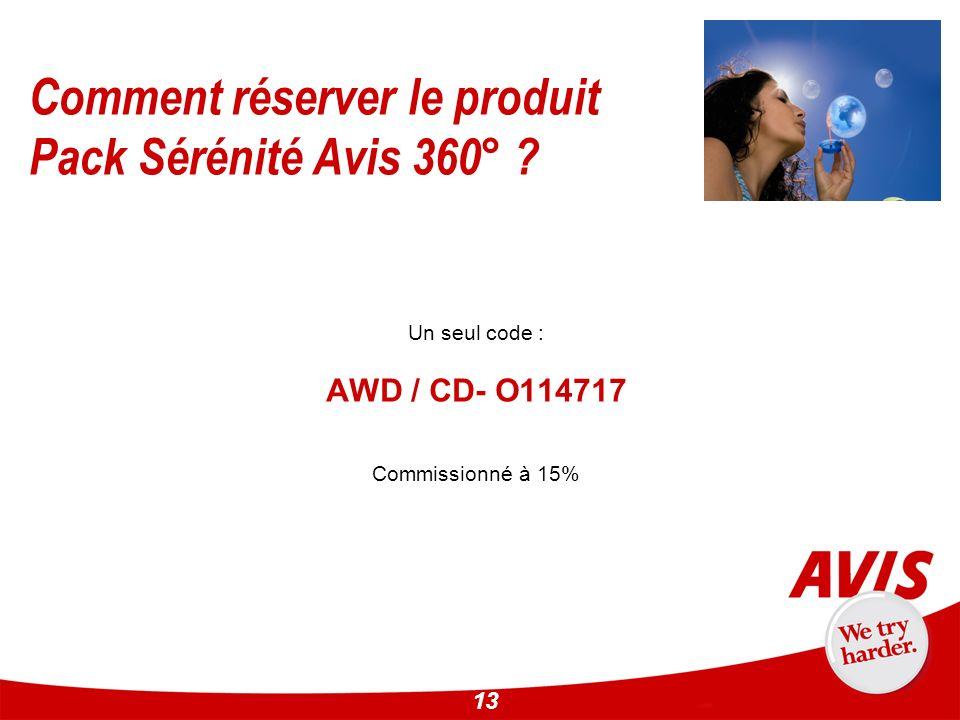 13 Un seul code : AWD / CD- O114717 Commissionné à 15% Comment réserver le produit Pack Sérénité Avis 360° ?