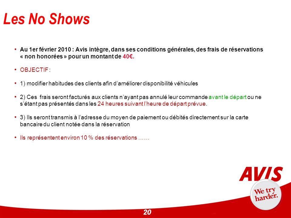 20 Les No Shows Au 1er février 2010 : Avis intègre, dans ses conditions générales, des frais de réservations « non honorées » pour un montant de 40. O