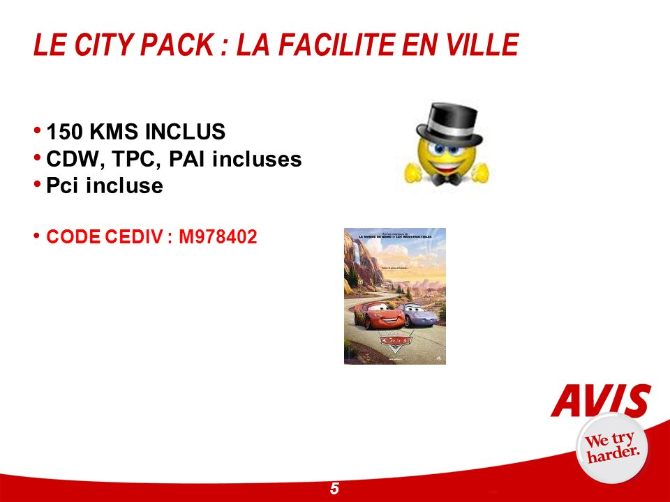 5 LE CITY PACK : LA FACILITE EN VILLE 150 KMS INCLUS CDW, TPC, PAI incluses Pci incluse CODE CEDIV : M978402