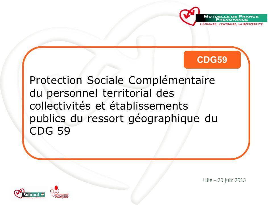 Protection Sociale Complémentaire du personnel territorial des collectivités et établissements publics du ressort géographique du CDG 59 Lille – 20 juin 2013 CDG59