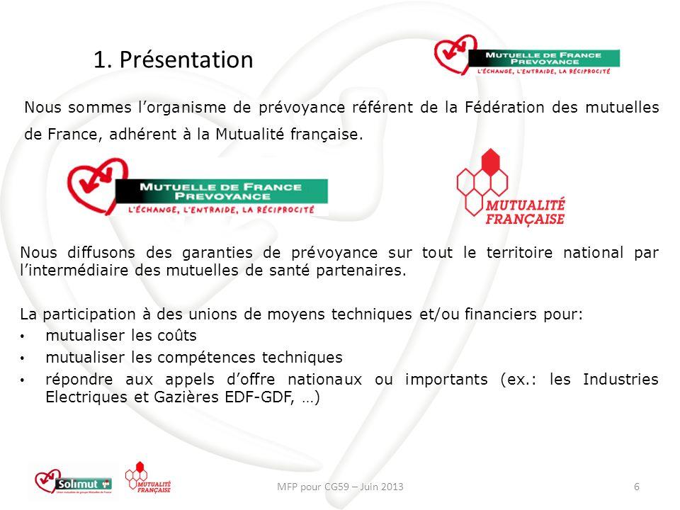 1. Présentation MFP pour CG59 – Juin 20136 Nous sommes lorganisme de prévoyance référent de la Fédération des mutuelles de France, adhérent à la Mutua