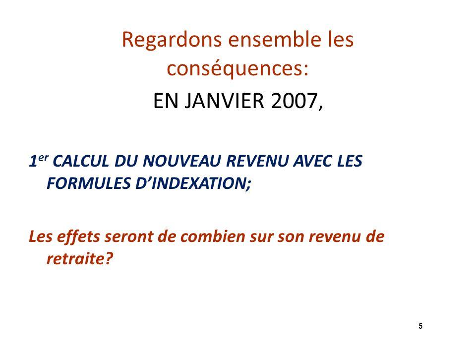 Regardons ensemble les conséquences: EN JANVIER 2007, 1 er CALCUL DU NOUVEAU REVENU AVEC LES FORMULES DINDEXATION; Les effets seront de combien sur son revenu de retraite.