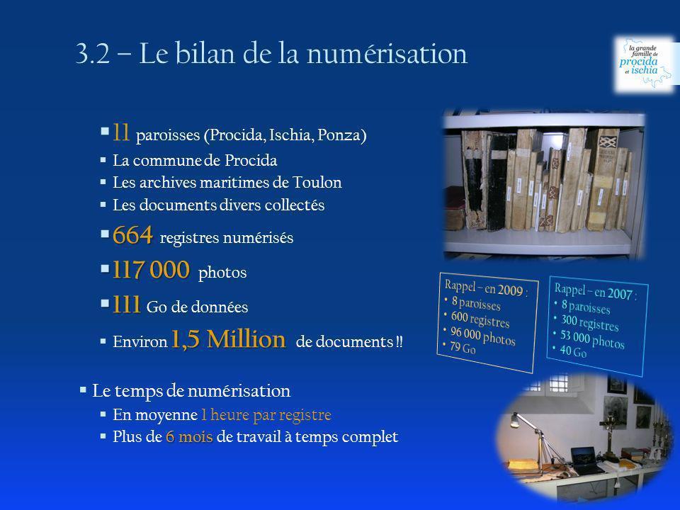 11 paroisses (Procida, Ischia, Ponza) La commune de Procida Les archives maritimes de Toulon Les documents divers collectés 664 664 registres numérisé