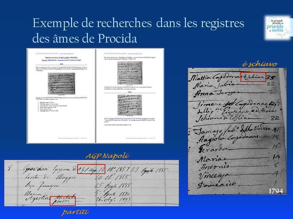 Exemple de recherches dans les registres des âmes de Procida 1794 partiti AGP Napoli è schiavo