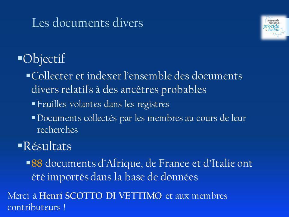 Objectif Collecter et indexer lensemble des documents divers relatifs à des ancêtres probables Feuilles volantes dans les registres Documents collecté