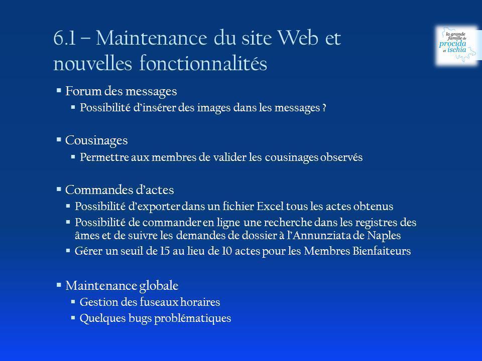 6.1 – Maintenance du site Web et nouvelles fonctionnalités Forum des messages Possibilité dinsérer des images dans les messages ? Cousinages Permettre