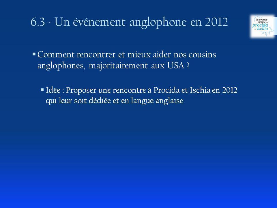 6.3 - Un événement anglophone en 2012 Comment rencontrer et mieux aider nos cousins anglophones, majoritairement aux USA ? Idée : Proposer une rencont