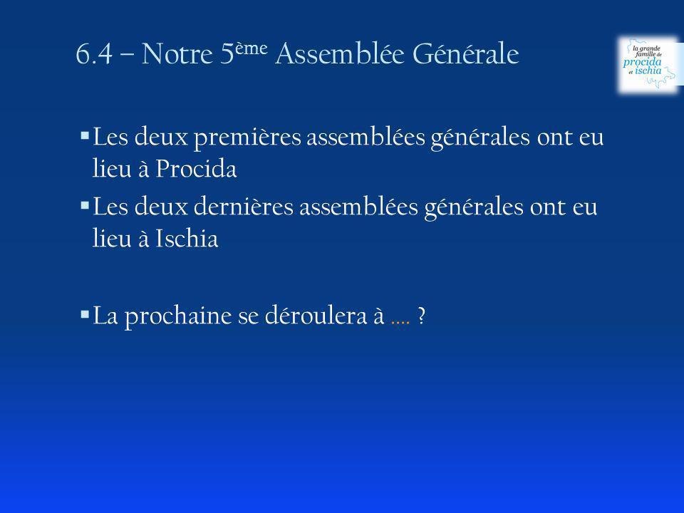 Les deux premières assemblées générales ont eu lieu à Procida Les deux dernières assemblées générales ont eu lieu à Ischia La prochaine se déroulera à ….