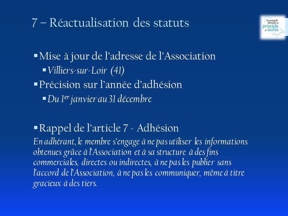 Mise à jour de ladresse de lAssociation Villiers-sur-Loir (41) Précision sur lannée dadhésion Du 1 er janvier au 31 décembre Rappel de larticle 7 - Ad
