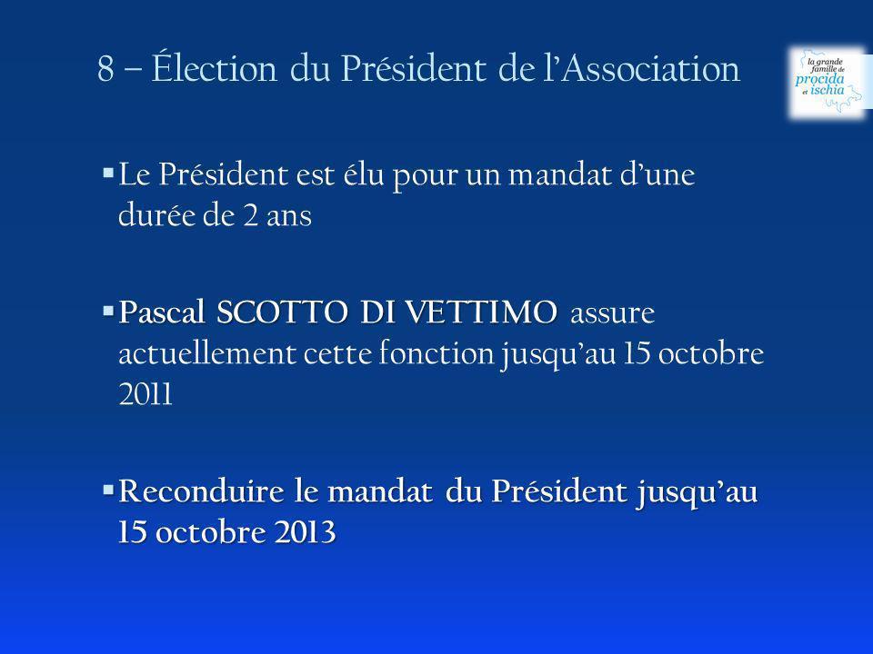 8 – Élection du Président de lAssociation Le Président est élu pour un mandat dune durée de 2 ans Pascal SCOTTO DI VETTIMO Pascal SCOTTO DI VETTIMO assure actuellement cette fonction jusquau 15 octobre 2011 Reconduire le mandat du Président jusquau 15 octobre 2013 Reconduire le mandat du Président jusquau 15 octobre 2013