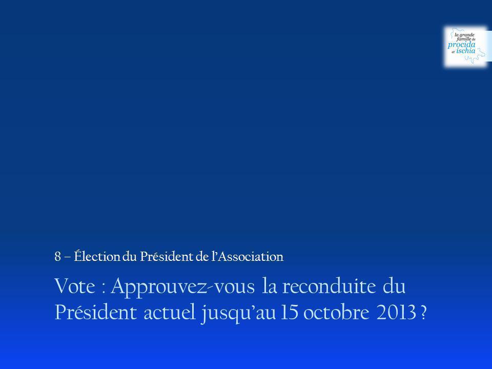 Vote : Approuvez-vous la reconduite du Président actuel jusquau 15 octobre 2013 ? 8 – Élection du Président de lAssociation