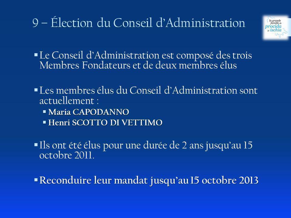 9 – Élection du Conseil dAdministration Le Conseil dAdministration est composé des trois Membres Fondateurs et de deux membres élus Les membres élus d
