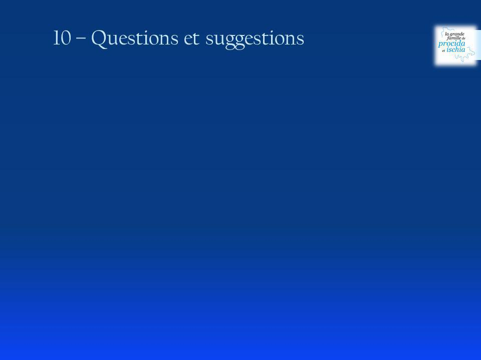 10 – Questions et suggestions