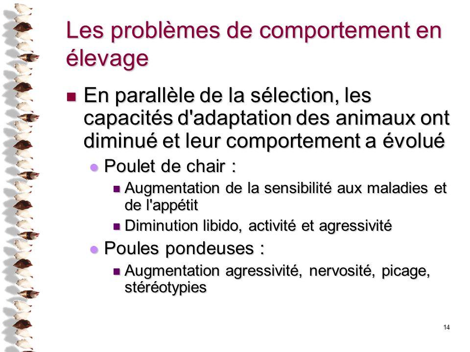 14 Les problèmes de comportement en élevage En parallèle de la sélection, les capacités d'adaptation des animaux ont diminué et leur comportement a év