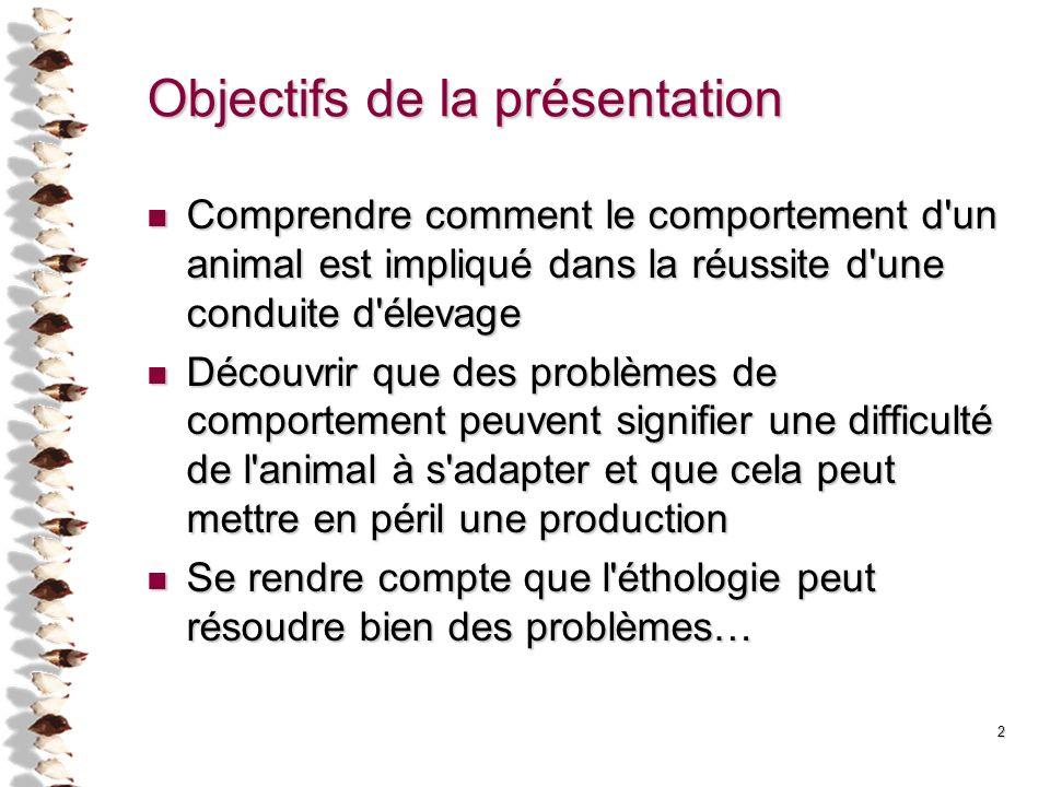 2 Objectifs de la présentation Comprendre comment le comportement d'un animal est impliqué dans la réussite d'une conduite d'élevage Comprendre commen