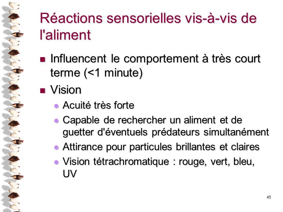 Réactions sensorielles vis-à-vis de l'aliment Influencent le comportement à très court terme (<1 minute) Influencent le comportement à très court term