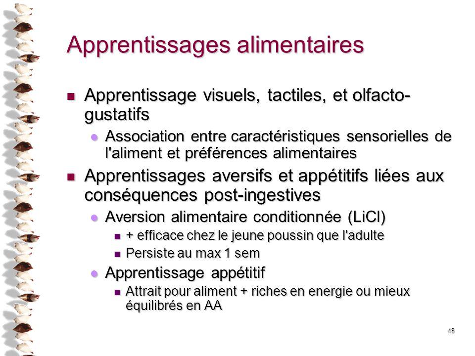 Apprentissages alimentaires Apprentissage visuels, tactiles, et olfacto- gustatifs Apprentissage visuels, tactiles, et olfacto- gustatifs Association