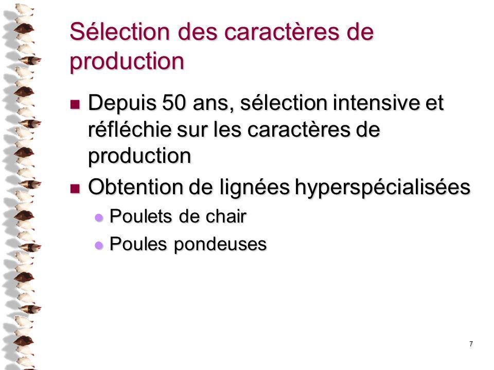7 Sélection des caractères de production Depuis 50 ans, sélection intensive et réfléchie sur les caractères de production Depuis 50 ans, sélection int
