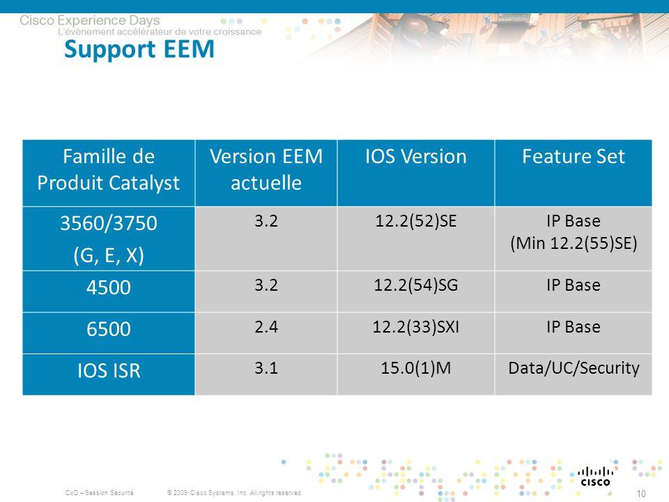 © 2009 Cisco Systems, Inc. All rights reserved. CxD – Session Sécurité 10 Support EEM Famille de Produit Catalyst Version EEM actuelle IOS VersionFeat