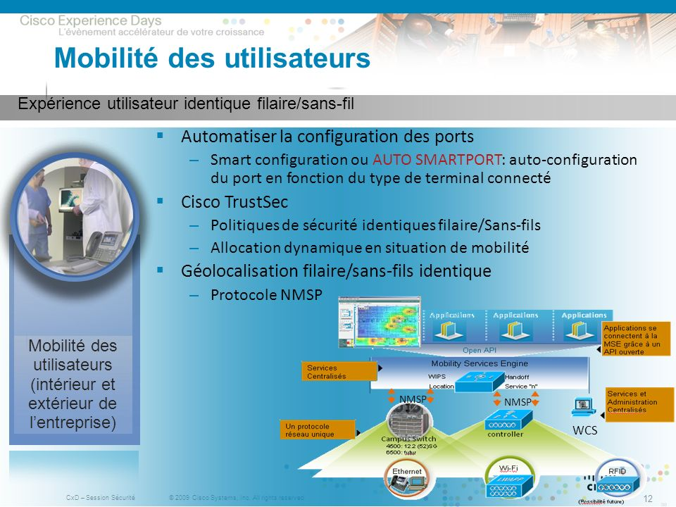 © 2009 Cisco Systems, Inc. All rights reserved. CxD – Session Sécurité 12 Expérience utilisateur identique filaire/sans-fil Mobilité des utilisateurs