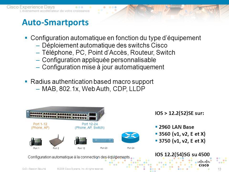 © 2009 Cisco Systems, Inc. All rights reserved. CxD – Session Sécurité 13 Auto-Smartports Configuration automatique en fonction du type déquipement –D
