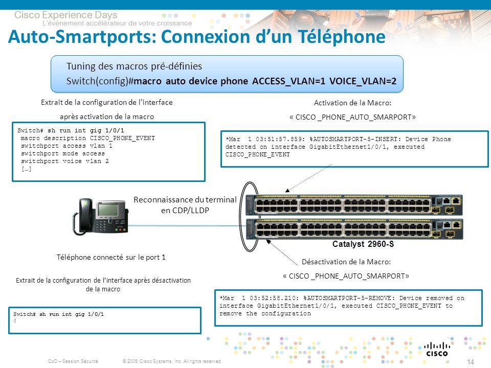 © 2009 Cisco Systems, Inc. All rights reserved. CxD – Session Sécurité 14 Auto-Smartports: Connexion dun Téléphone Téléphone connecté sur le port 1 Re